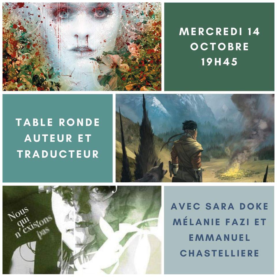 Auteur et traducteur - Une table ronde avec Sara Doke, Mélanie Fazi  et Emmanuel Chastellière