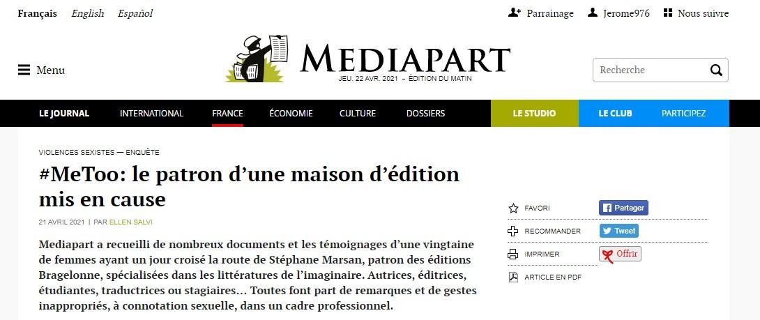 Mediapart met en cause Stéphane Marsan.